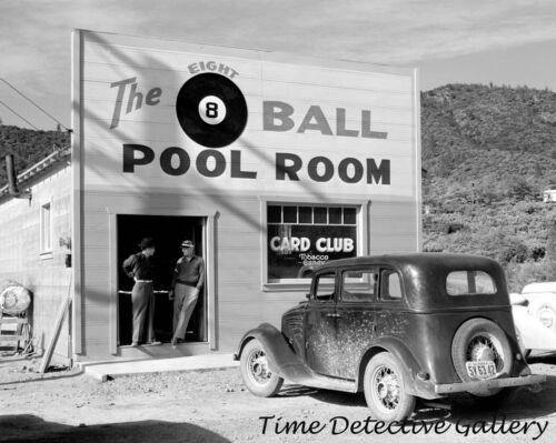 Shasta County 8-Ball Pool Hall // 1933 Willys Historic Photo Print CA 1940