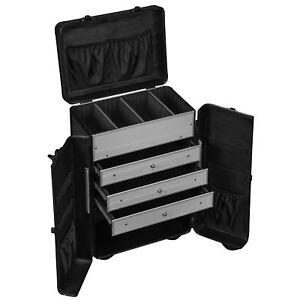 Werkzeugkoffer-Trolley-Schwarz-45-L-Schubladen-verschliessbar-Praesentationskoffer