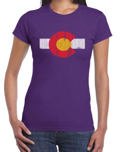 451 Colorado Flag womens T-shirt flag rocky mountains west denver pride vintage