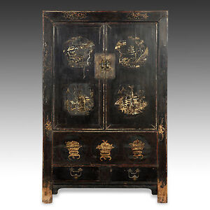 Incroyable Image Is Loading RARE ANTIQUE CHINESE QING DYNASTY SHANXI LACQUER GILDED