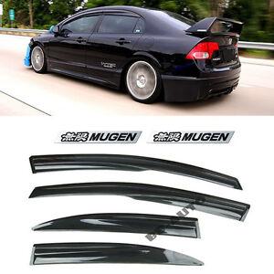 For 06-11 Honda Civic JDM SI Window Rain Visor MUGEN Style + EMBLEMs Sedan 4Dr