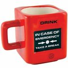 Take a Break - Emergency Fire Alarm Mug in Bright Red Fun Novelty Tea Coffee Cup