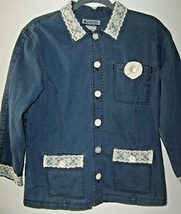 Denim & Lace Columbia Top/Jacket Women L Embellished Pockets & Collar 3/4 Sleeve