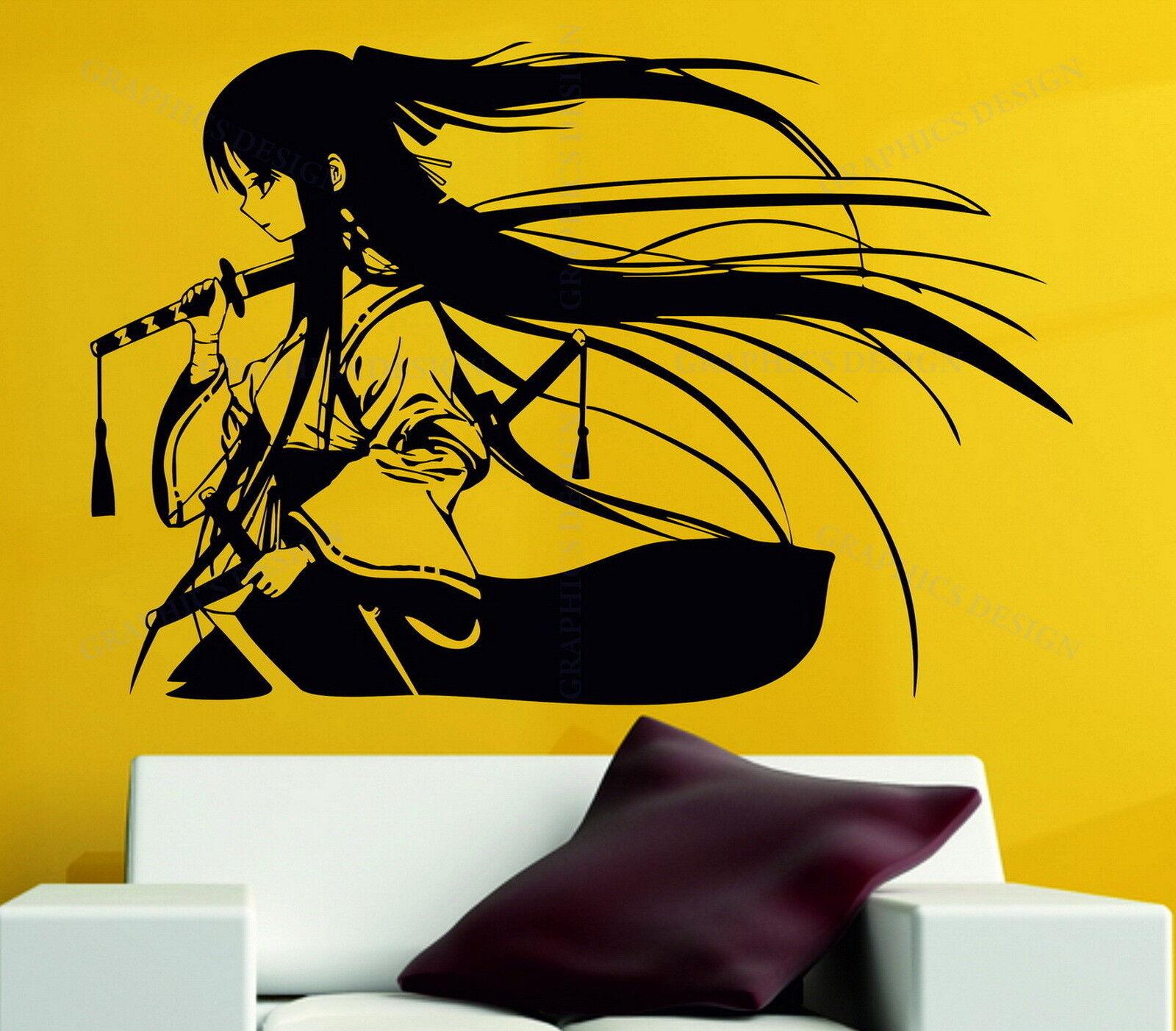 Samurai Geisha Japanese Katana Swords Anime Decorative Vinyl Wall ...
