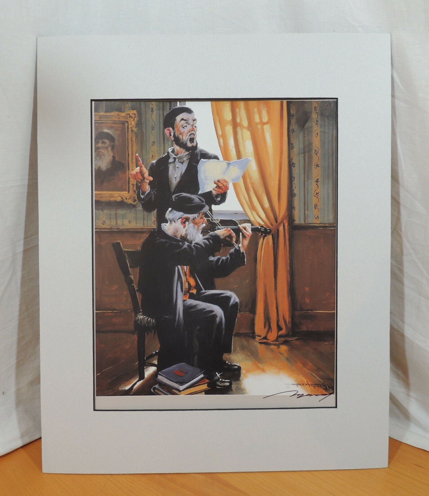 Maher Morcos Man Playing Violin Duet Signed Print 13 x 16 ...