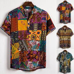 Mens-Casual-Loose-Shirts-Printed-Short-Sleeve-T-shirt-Lapel-Collar-Vintage-Tops