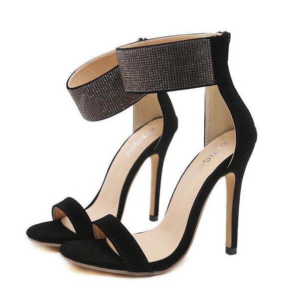 Sandali stiletto eleganti tacco 12 cm nero strass simil pelle eleganti 1153