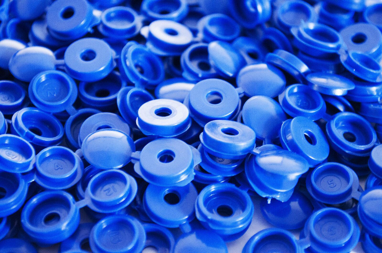 50 x tapones de Tapa tornillo plástico azul con Bisagras pliegue sobre Fit Size 6-8 calibre Tornillos