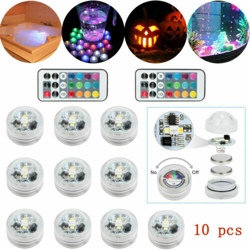 10X Submersible Lights 13 Colors IP65 Wedding Birthday & 2X Remote Controller