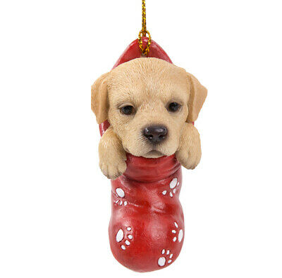 New STOCKING PUPS Ornament YELLOW LAB PUPPY Christmas Hanging Statue RETRIEVER