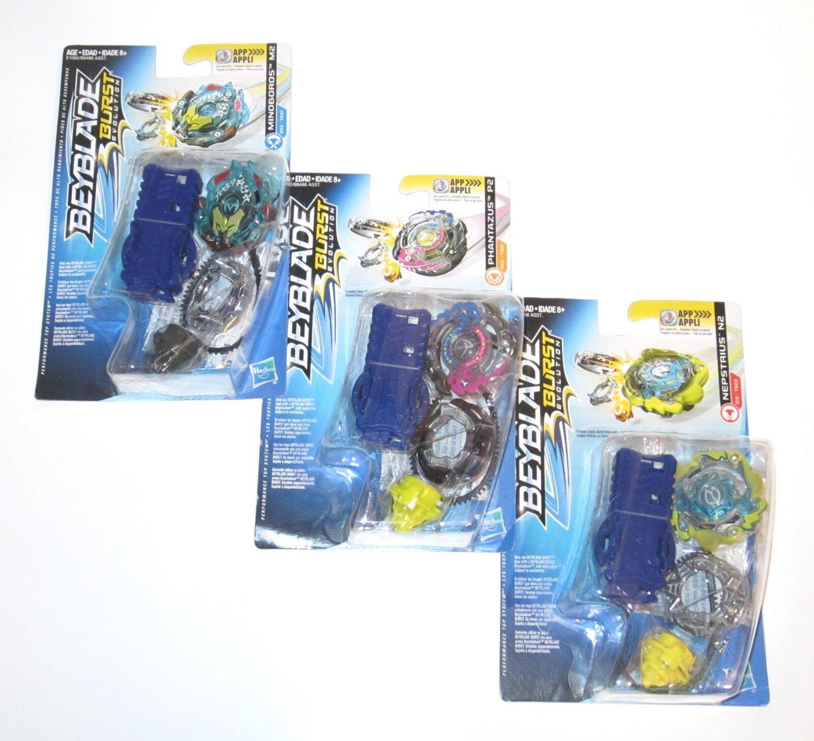 3x Beyblade Burst Evolution Mindboros M2 Phantazus P2 Nepstrius N2 D22 Hasbro