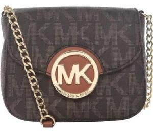 67801d06e29c0 Michael Kors FULTON Small Crossbody Bag MK Sig Logo PVC Brown ...