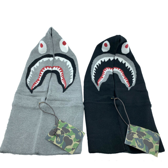 A Bathing APE BAPE SHARK NECK WARMER BLACK GREY COLORS