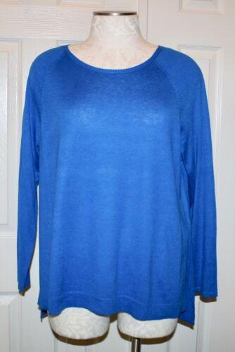 Catalina Blue 2X Eileen Fisher Tencel Cotton Silk Ballet Neck Top NWT