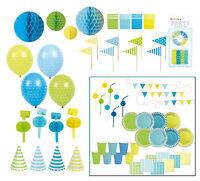 Jabadabado Kindergeburtstag Partyset Für 8 Jungen / Blau Grün Teller Pappbecher