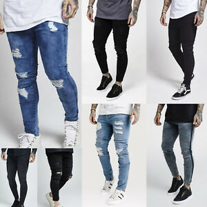 Sik-Silk-Mens-Skinny-Stretch-Designer-Distress-Ripped-Destroyed-Stylish-Jeans