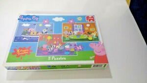 CBeebies-Peppa-Pig-amp-Friends-3-puzzles-dans-la-boite-Puzzle-par-Jumbo-Age-3-An