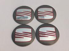 4x Seat Wheel Center Cap Badge 56mm Grey Ibiza Leon Cupra Alhambra Toledo Altea