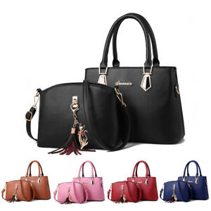 2set Women's PU Leather Handbag Shoulder Large Capacity Tote Purse Messenger Bag