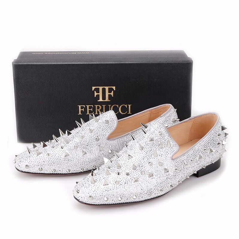 Men FERUCCI Silber Flat Spikes Slippers Loafers Flat Silber With Crystal GZ Rhinestone 548732