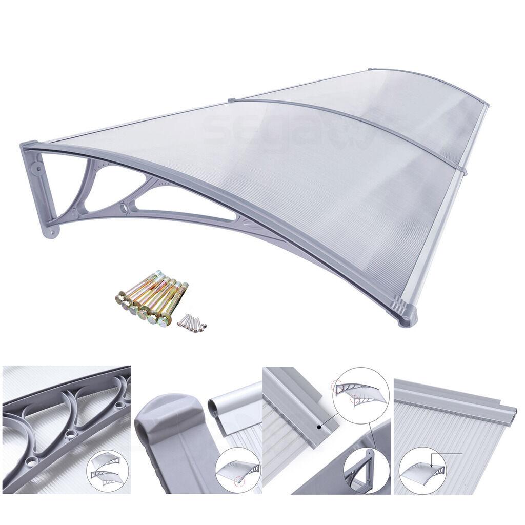 40″x80″ Window Door Awning Canopy Hollow Sheet UV Rain Snow Protection Sun Shade Garden Structures & Shade