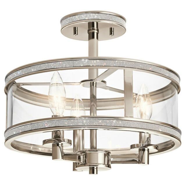 Kichler Polished Nickel Crystal Accents Clear Gl Semi Flush Mount Light New