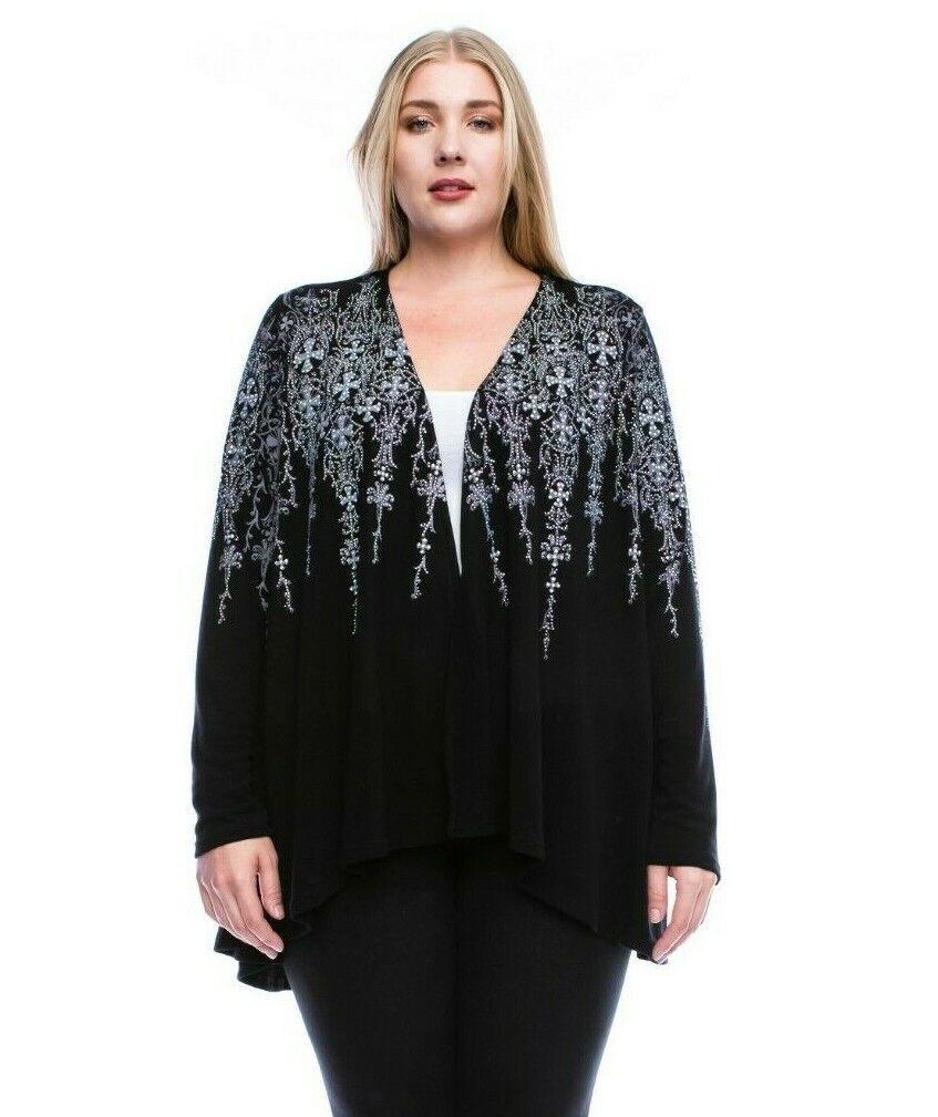 NEW Vocal Apparel Boho Cardigan Rhinestone Garnish Lace Plus 2X 2XL Made in USA