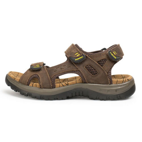 Mens Sandals Casual Leather Breathable Sports Slippers Open Toe Trekking Shoes