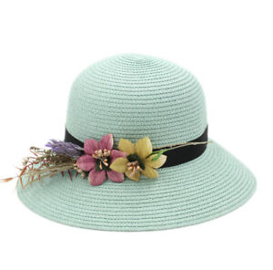 2dba33c3dad86 Floppy Brim Women s Straw Cloche Hat Summer Beach Bowler Cap DIY ...