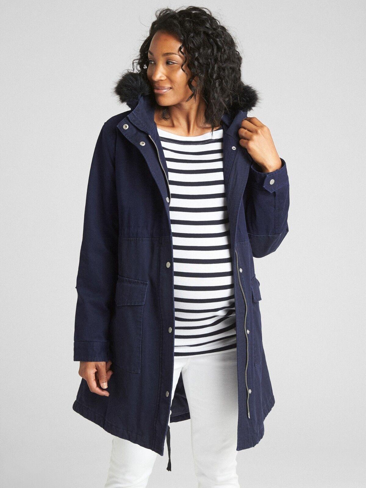 NWT Gap Maternity Satin Lined Parka Coat, Dark Night SIZE XL    E1215