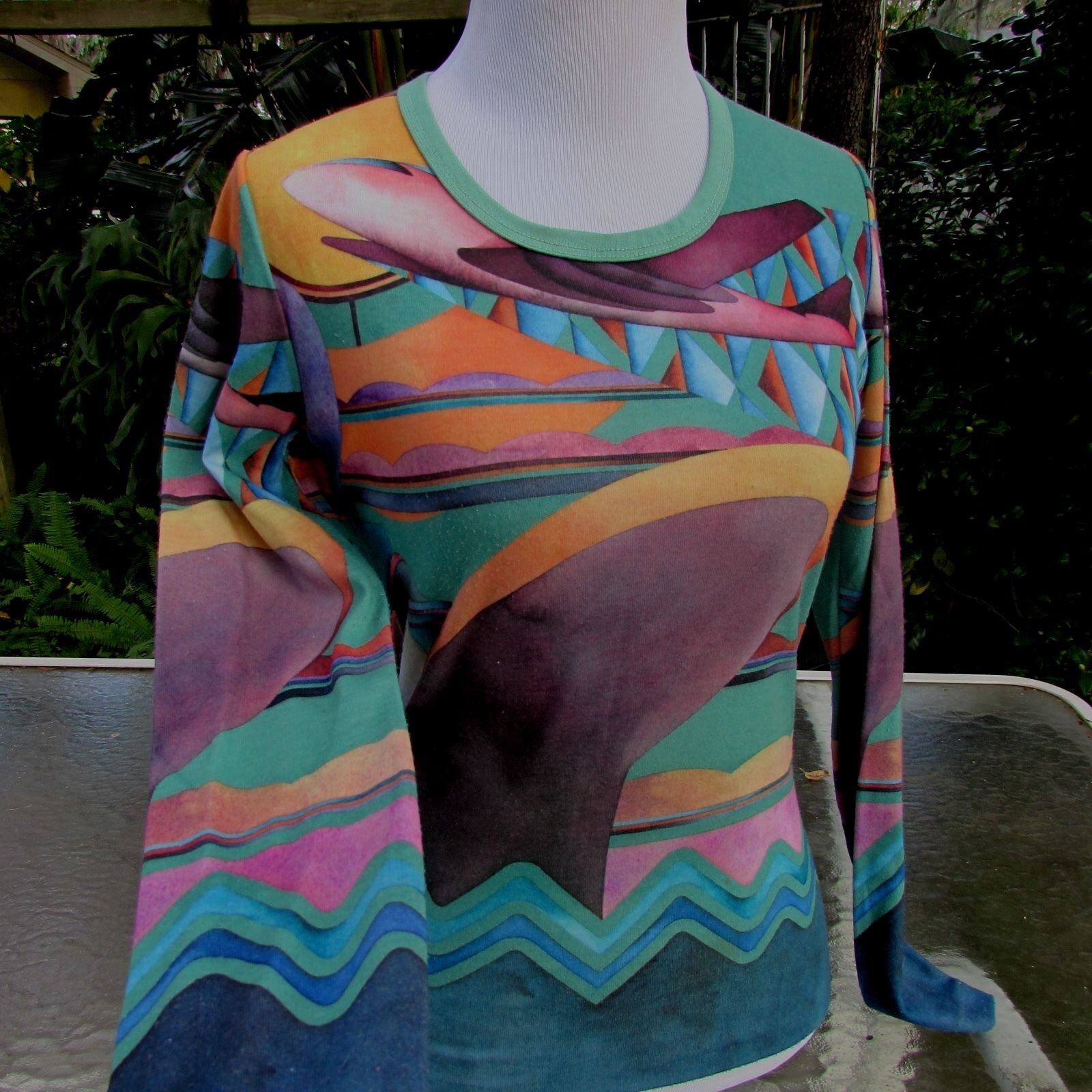 Vintage 70's Planes Boats Retro Funky Long Sleeve Top Blouse Xsmall