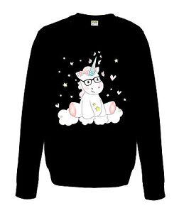 sweatshirt damen pullover unicorn regenbogen bunt einhorn cutie mit brille ebay. Black Bedroom Furniture Sets. Home Design Ideas