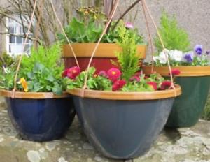 100% Vrai Plastique Suspendu Jardiniere Pot De Fleurs Maison Jardin Patio Decor Herb Planters Cadeau Nouveau-afficher Le Titre D'origine RafraîChissant Et Enrichissant La Salive