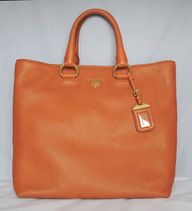 15aea72ece22 Image is loading NWT-PRADA-Orange-VITELLO-DAINO-Leather-Shopping-Tote-