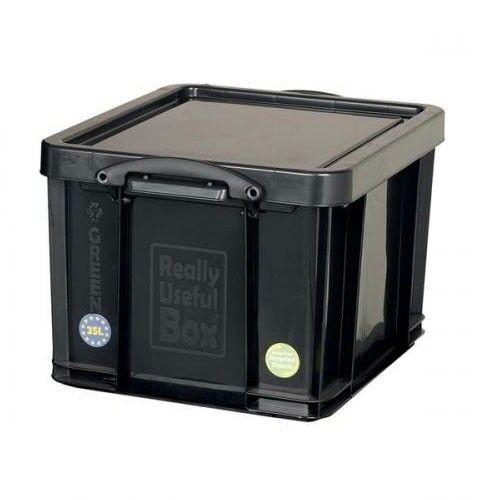 Vraiment utile Noir Boîte de rangement en plastique 35 L