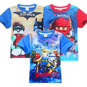 New-Boys-Lego-batman-Ninja-Ninjago-Cartoon-T-shirt-Kids-Tops-Tees-3-4-5-6yrs