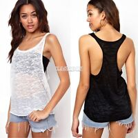 Women Sexy Transparent Loose Vest Blouse Sleeveless T-shirt Tank Tops S/M/L/XL