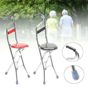 Portable-Stainless-Steel-Folding-Chair-Seat-Walking-Stick-Support-Travel-Cane-U