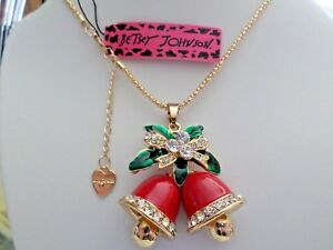 Betsey Johnson Red Enamel Crystal Christmas Bell Pendant Necklace Xmas Gift