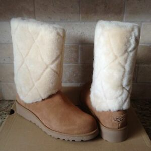 2c3f2e202b2 Details about UGG Ariella Luxe Diamond Chestnut Suede Fur Cuff Wedge Boots  Size US 7.5 Womens