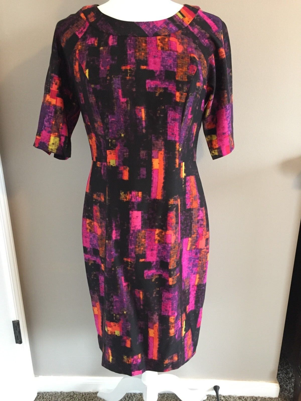 Shoshanna Size 8 Silk Blend Graphic Print Sheath Dress