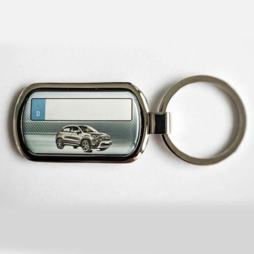 Fiat 500X Schlüsselanhänger mit Kennzeichen 3D Effekt Beschichtung Textgravur