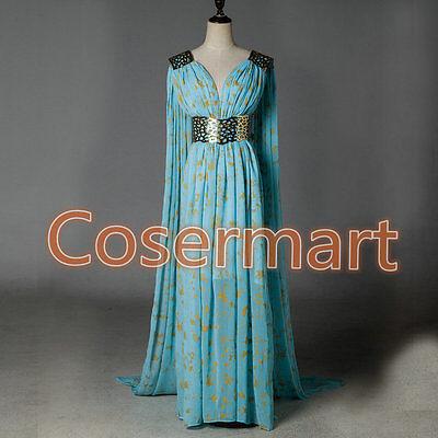 Halloween Game Of Thrones Cosplay Daenerys Targaryen Qarth Blue Dress Costume