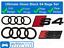 AUDI-S4-Anillos-Brillo-Negro-Rejilla-amp-Bota-Insignia-Emblema-Set-Conjunto-Completo-De-Black-Out miniatura 1