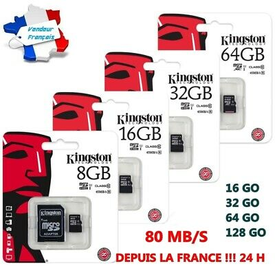 Entusiasta Kingston Carte Mémoire Micro Sd Sdhc Sdxc 128 64 32 Go Classe 10 + Adaptateur!!!