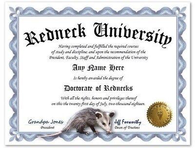 Redneck University Personalized Diploma w/ Gold Seal Opossum