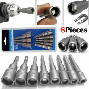 "9Pcs 1//4/"" Hex Magnetic Nut Driver Screw Socket Metric Impact Drill Bits Tool Set"