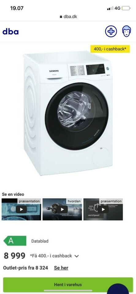 Siemens vaskemaskine, WD14U5E1D, vaske/tørremaskine