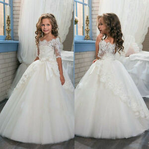 ee3bf463cdc2 Image is loading Princess-Half-Sleeve-Lace-Flower-Girl-Dresses-Kids-