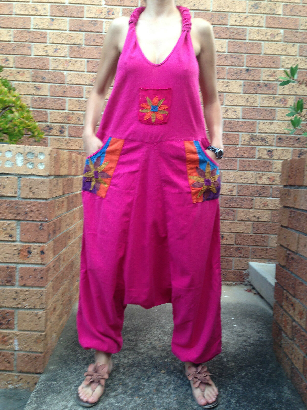 Women Summer Aladin Hippy Gypsy Boho Loose Casual Jumpsuit Size 8-10-12-14 NEW